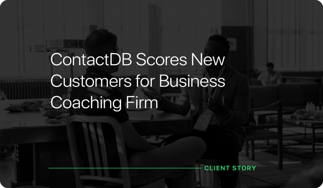ContactDB Scores New Customers for Business Coaching Firm